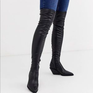 NWT western block heel OTK fitted boots